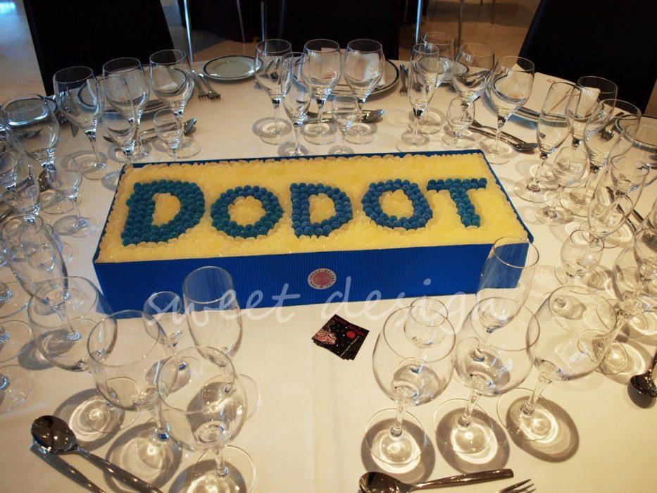 Logotipo de Dodot en gominolas azules y blancas