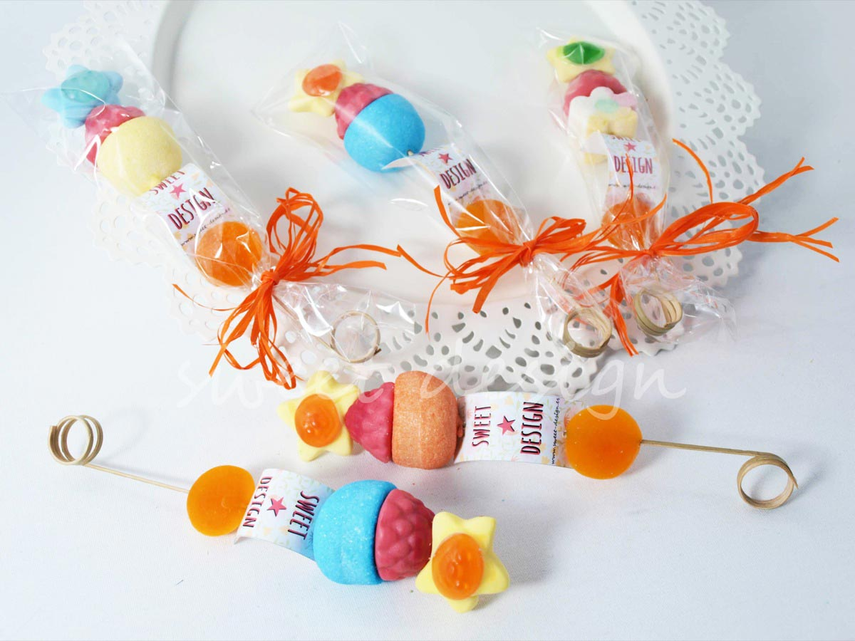 Brocheta multicolor sweet design for Pinchos de gominolas