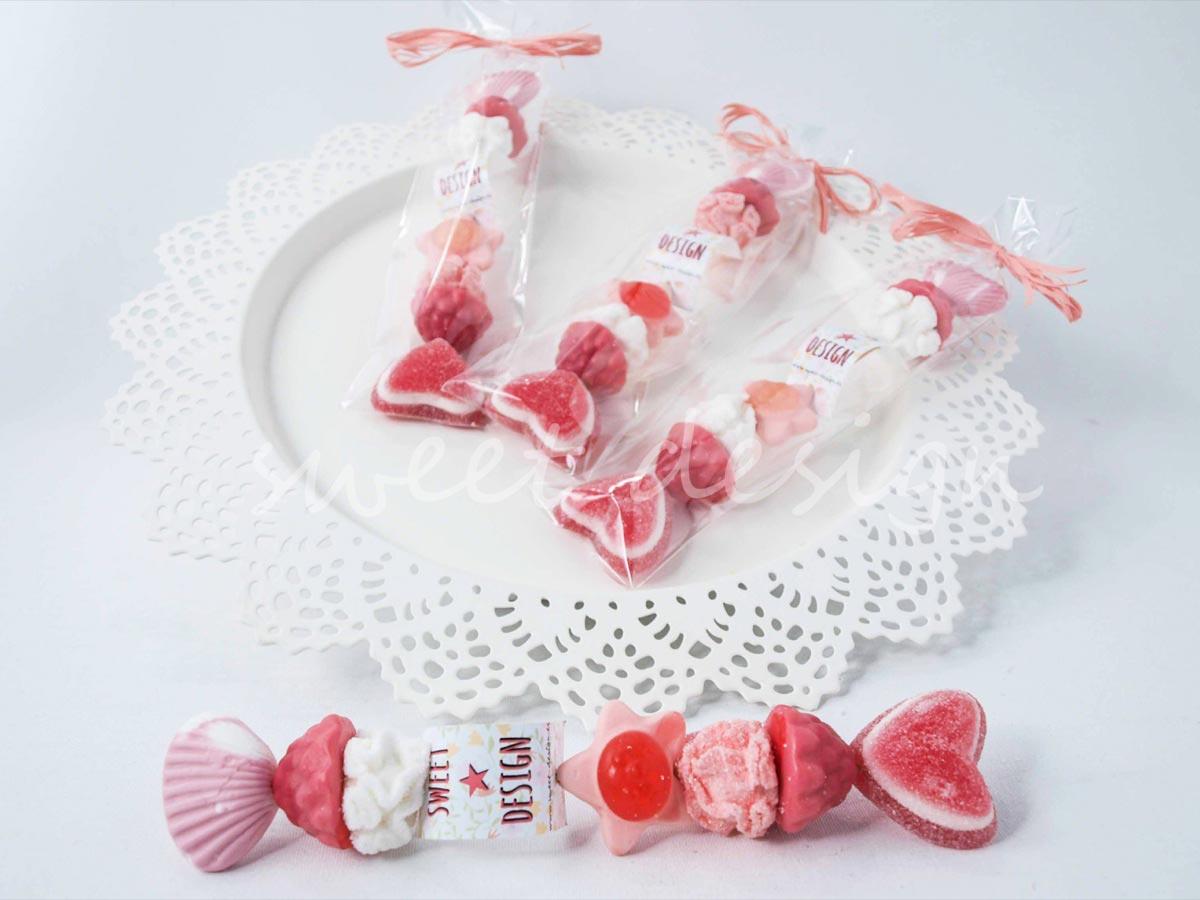 Brocheta rosa sweet design for Pinchos de gominolas
