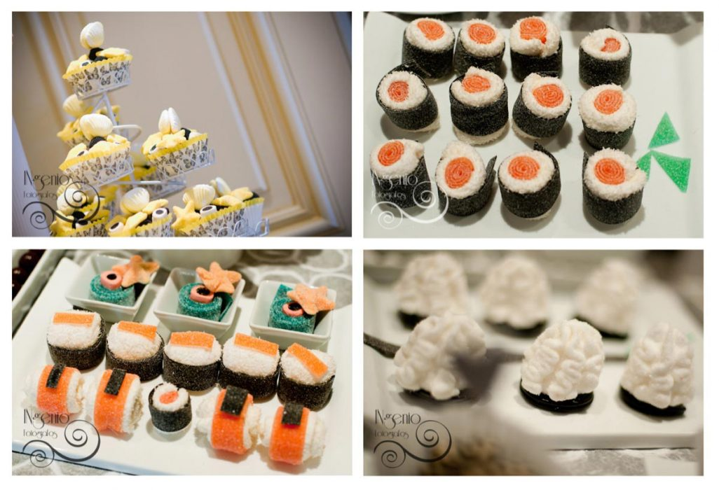 Candy bar en colores blanco negro amarillo y naranja