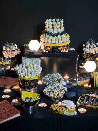 Buffet de chucherías para boda de noche