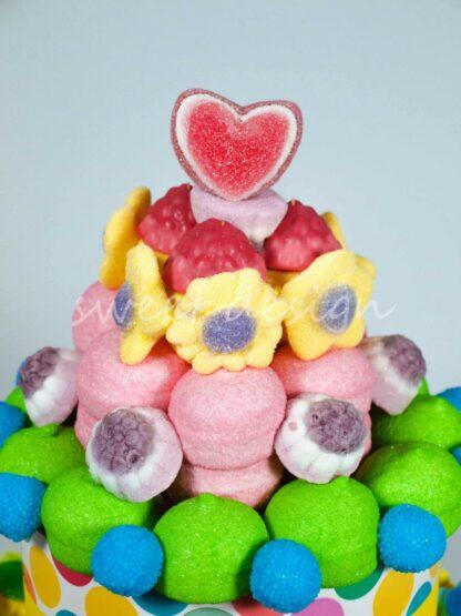 Brochetas de corazón y flores de chuches