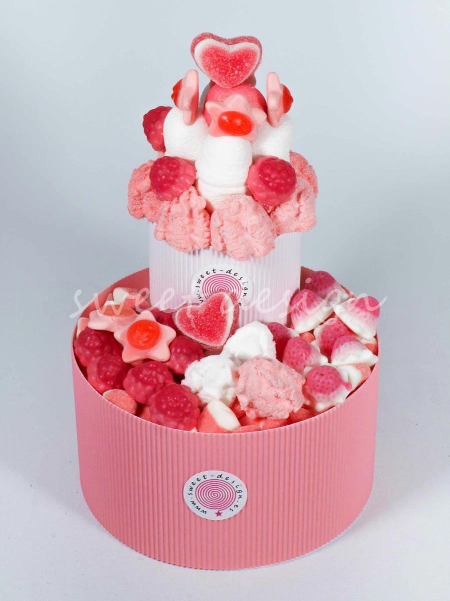 Tarta dos pisos rosa sweet design - Tartas de chuches fotos ...