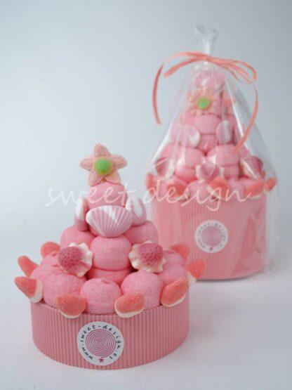 Tarta de chuches color rosa