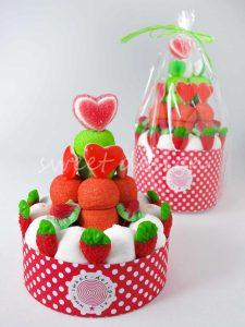 Tarta de chuches colores navideños