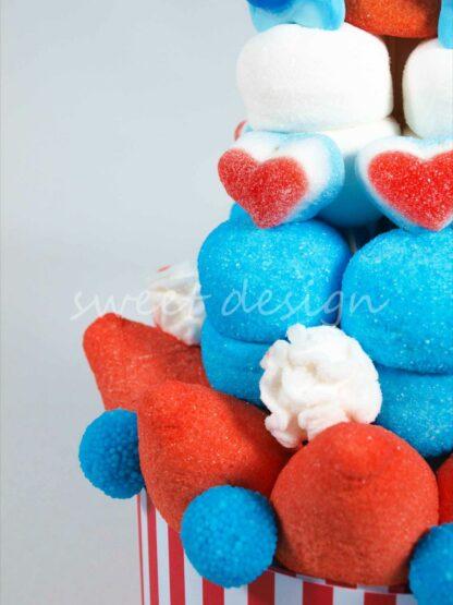 Tarta de chuches colores americanos