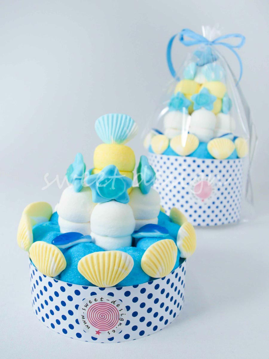 Tartita ni o azul y amarilla sweet design - Chuches para bautizo ...