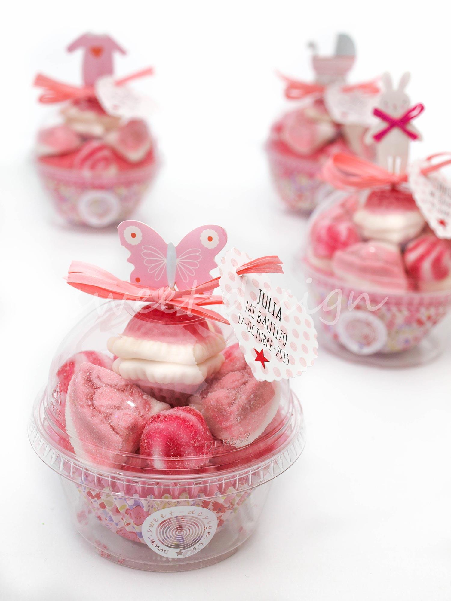Vasito cupcake con adorno beb rosa sweet design - Adornos con chuches ...