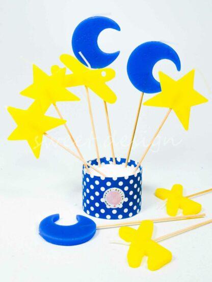 Vela avion amarillo, estrella amarilla y luna azul