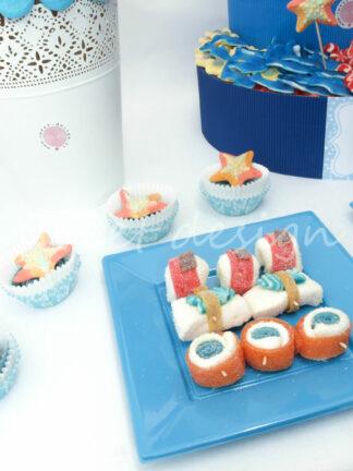 Catering de chuches con sushi dulce para boda