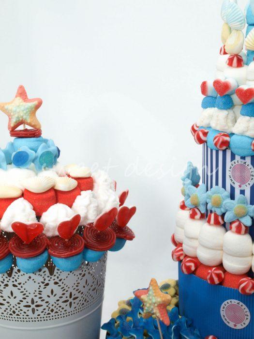 Candy bar para eventos con chuches en tonos azules y playa