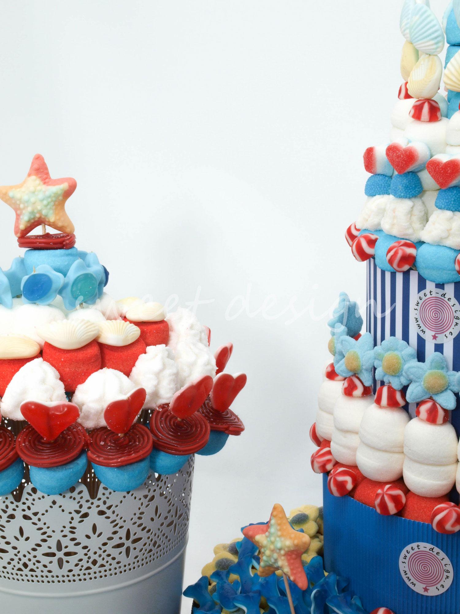 Candy bar mar y playa sweet design - Ideas para decorar mesas de chuches ...