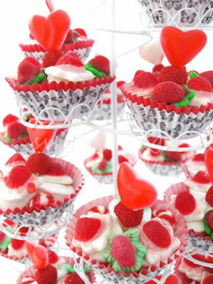 Expositor de cup cakes de golosinas para candybar