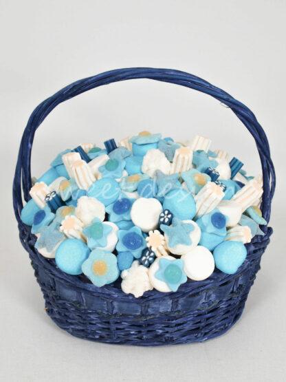 Cesta de chuches azul para nacimiento niño