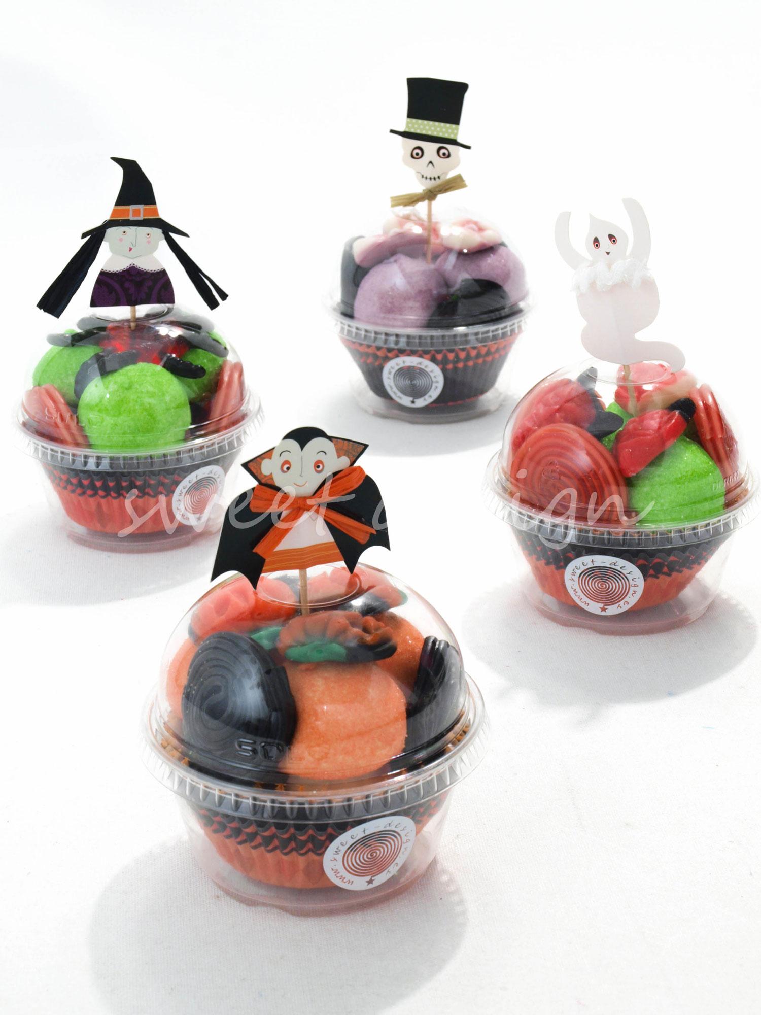 Vasito cupcake halloween con pic sweet design for Envolver brochetas de chuches