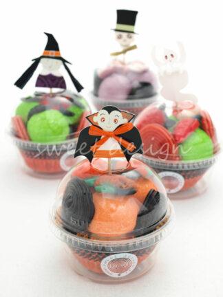 Vasito con chuches con adorno de Halloween