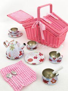 Cesta de pic nic rosa con juego de té