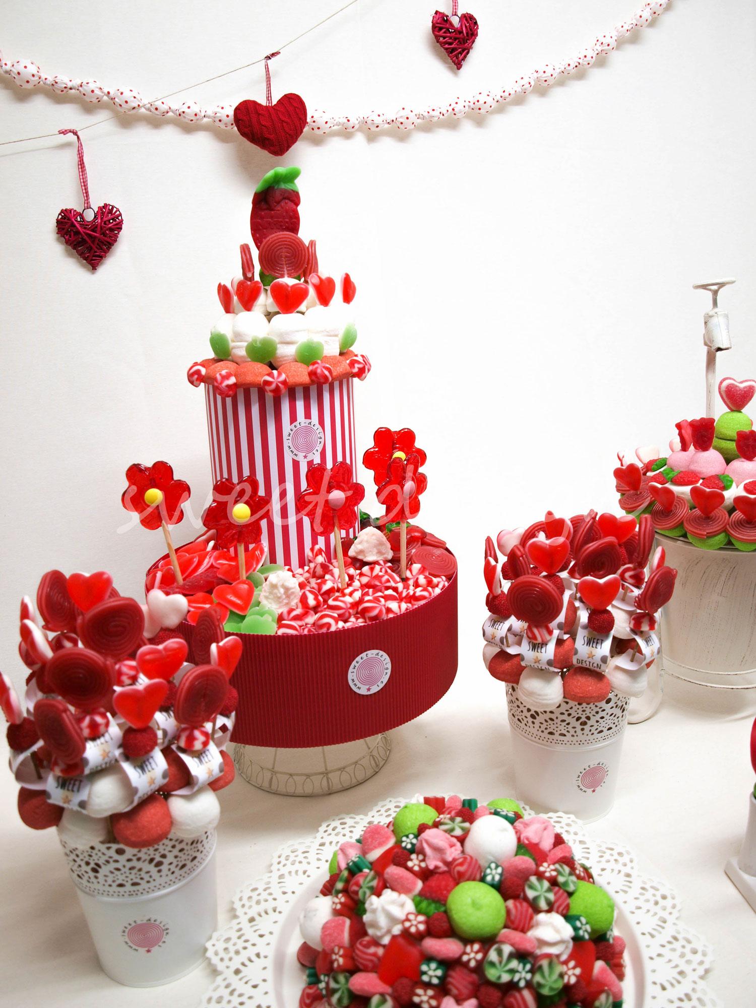 Composici n de buffet rojo verde y blanco sweet design for Ideas para mesas de chuches
