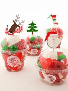 Vasitos Cup Cake con Chuches y adornos de Navidad