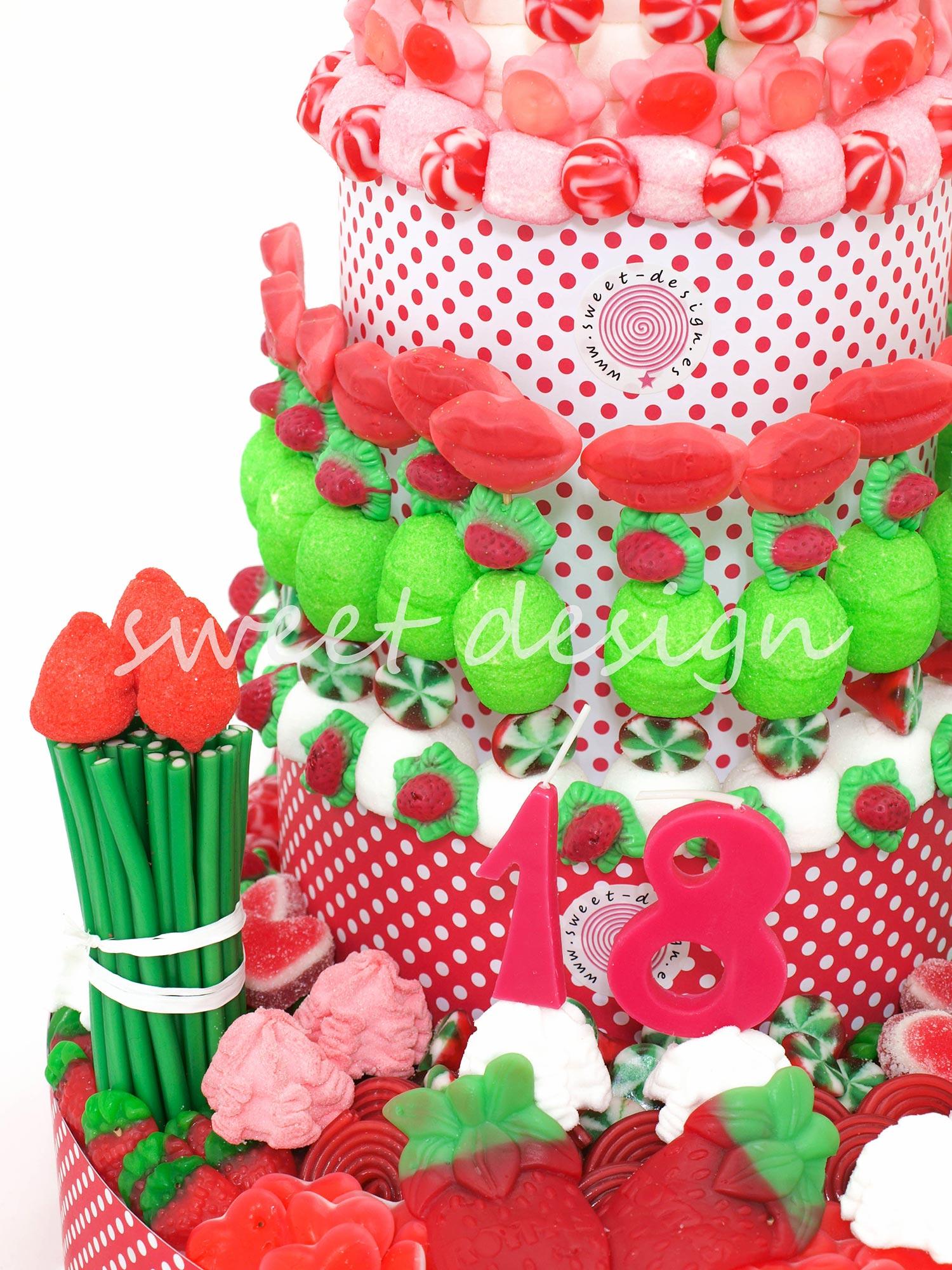 22e5367a830 Tarta de Tres Pisos XXL en Rojo-Rosa-Verde | Sweet Design