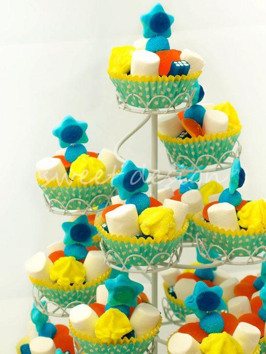 Expositor de cupcakes de golosinas