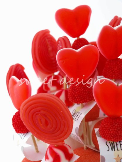Ramo de chuches rojas para boda