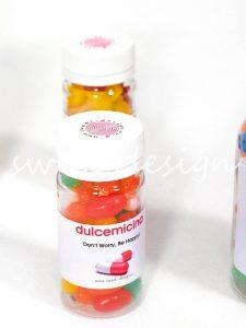 Medicinas dulces con menaje personalizado