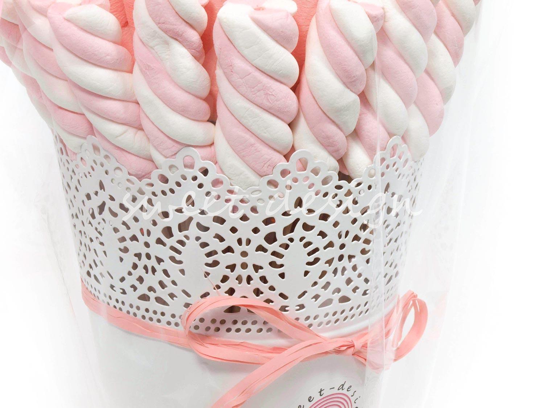 Centro de nubes rosa blanco sweet design - Como hacer figuras con chuches ...
