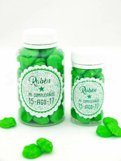 Bote con gominolas verdes