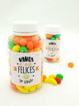 Bote personalizado con caramelos de colores