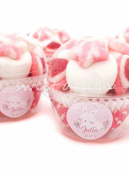 Vaso de golosinas rosas