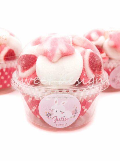 Vaso rosa de gominolas