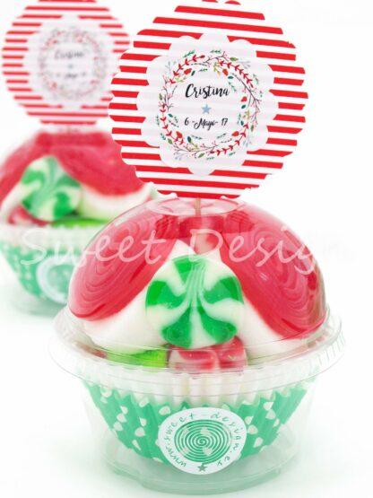 Cupcake de golosinas con pic