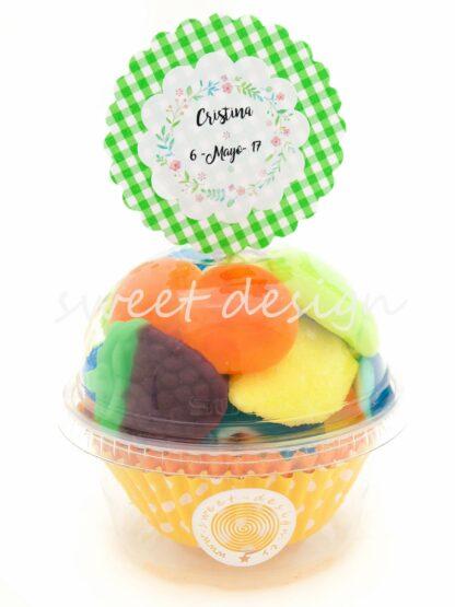 Vaso cupcake con pic personalizado