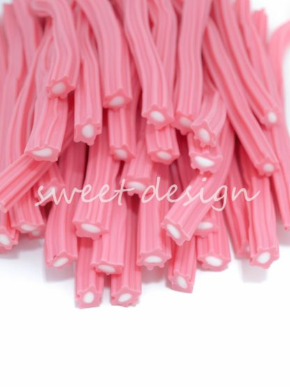 regaliz de color rosa y blanco