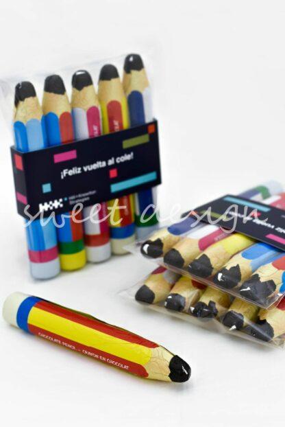 bolsita de lápices de chocolate con faja personalizada